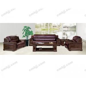 H9942原木、花梨 真皮办公沙 商务沙发