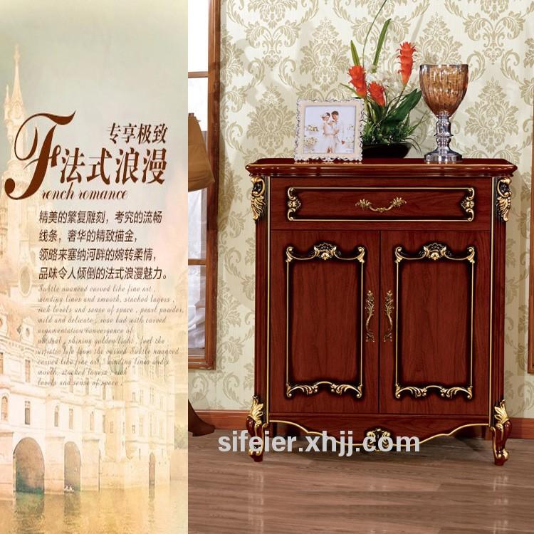 香河美式乡村深色家具欧式法式古典雕花描金二门俩门鞋柜