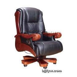 可躺实木班椅 真皮老板椅