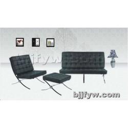 北京 真皮不锈钢创意休闲沙发 现代简约办公沙发椅