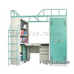 北京 上床下桌公寓床 宿舍带书桌柜子高低铁床 上下铺铁床