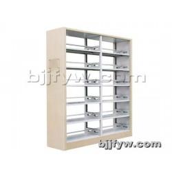 北京 两联双柱木护板书架 钢制书架单面双面书架