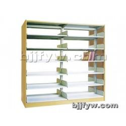 北京 两联单柱木护板书架 钢制书架 书柜 学校图书室书架
