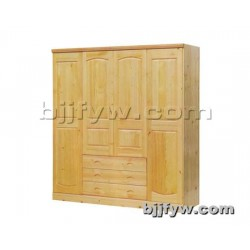 北京 实木简约现代衣柜卧室衣柜整体衣橱4门实木大衣柜