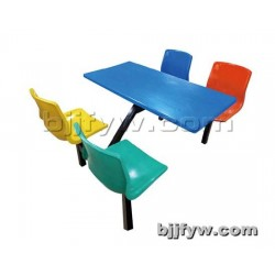 北京君发永旺 员工食堂桌椅 饭店小吃餐厅4人连体快餐桌椅组合