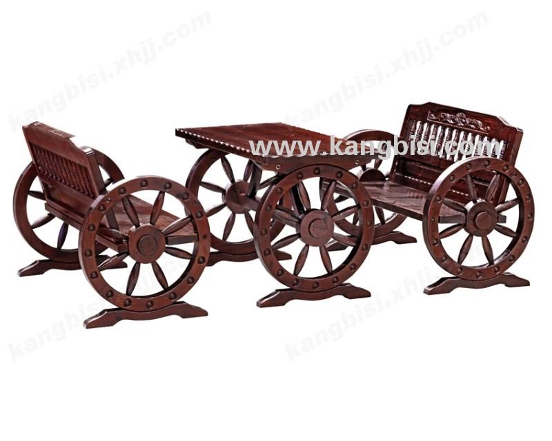 酒吧双人车轮桌椅 花园休闲桌椅
