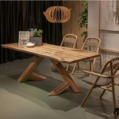 北欧原创个性白蜡实木餐桌原生态木蜡油香河专卖店