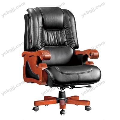 北京真皮可躺大班椅 实木脚转椅18