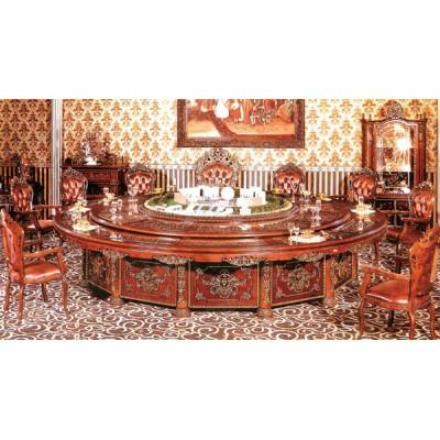 酒店实木雕刻电动餐桌01