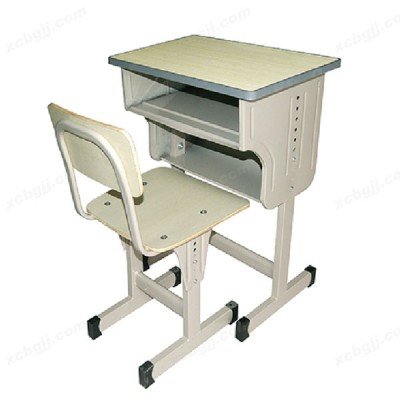 可升降单人防滑多层板课桌椅03