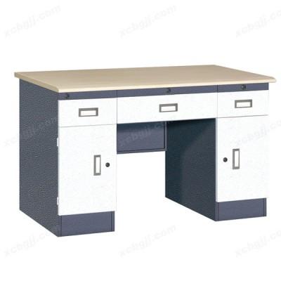 皱纹套色三屉双门办公桌02