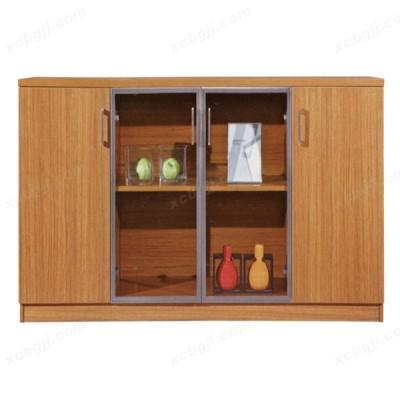 简约现代茶水柜 玻璃门办公柜23