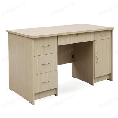 单人带抽屉木板式职员写字台08