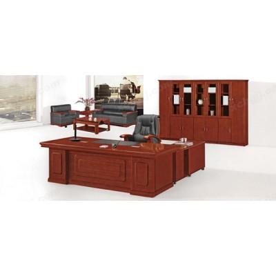 中式风格红棕色大板桌 实木老板台03