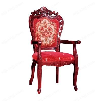 河北盛朗实木雕花古典布艺扶手椅03