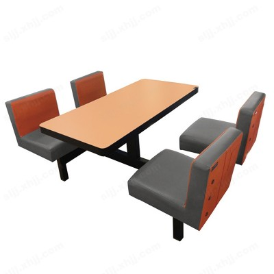 连体快餐桌椅 饭店食堂餐桌椅05