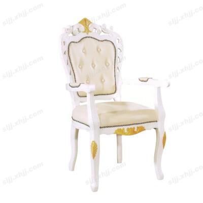 河北带扶手欧式雕花白色酒店椅06