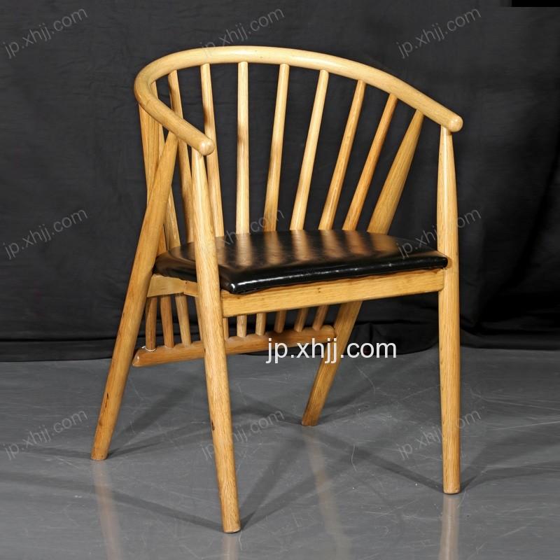 香河聚派酒店家具实木带扶手靠背椅