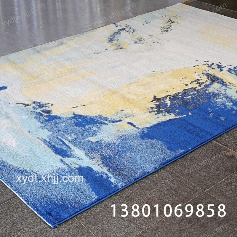 香河水墨画蓝色简约客厅地毯 毛毯