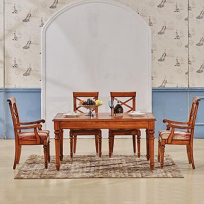 天津实木餐桌椅组合可伸缩餐桌