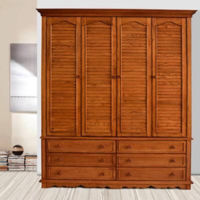 天津美式环保红橡木胡桃色衣柜橱卧室储物柜