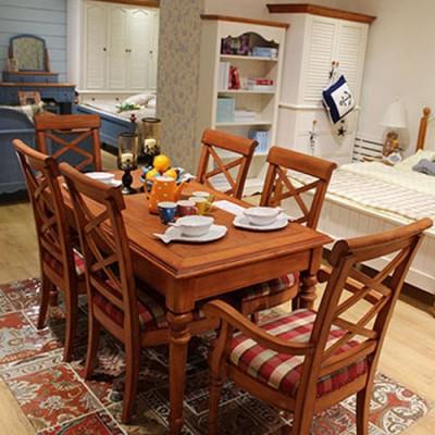天津耐特家具美式田园餐厅家具整装 田园风格装修效果图
