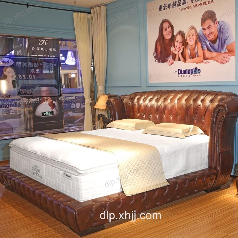 邓禄普高靠背软床真皮床双人主卧大床进口