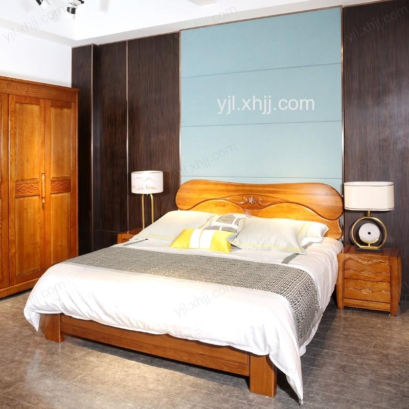 元嘉利时尚现代全实木1.8米大床 卧室双人床 床头柜组合