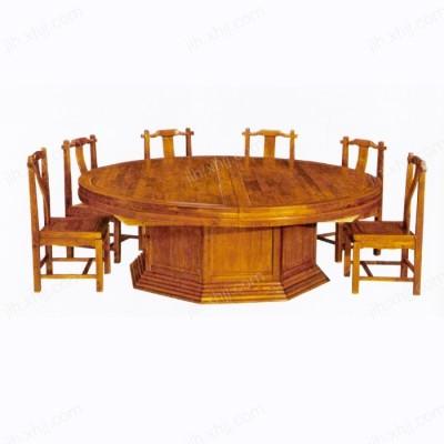 中式实木圆餐桌 多人餐厅酒店榆木大圆桌02