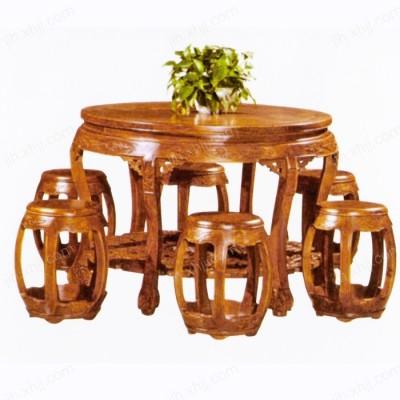 实木中式餐桌 仿古酒店圆餐桌01