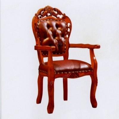 欧式餐厅餐椅 实木软包布艺餐椅01