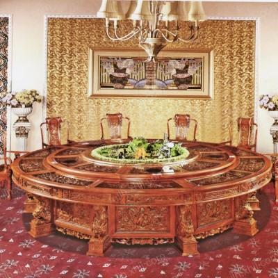 大型实木电动餐桌 红木旋转餐桌04