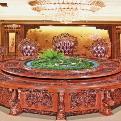 嘉乐豪豪华雕刻电动餐桌 大型实木圆餐桌01