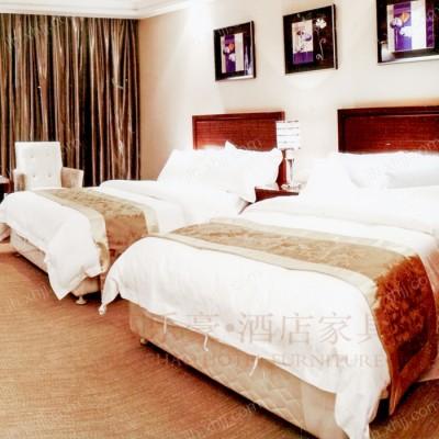 酒店标准间套房家具 实木单人床家具04