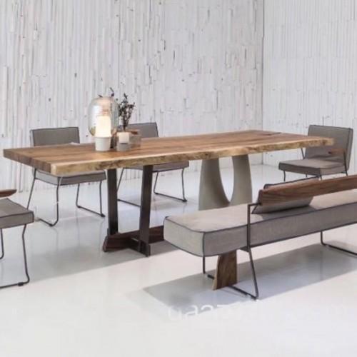 北欧原创个性合欢实木餐桌原生态木蜡油香河专卖店