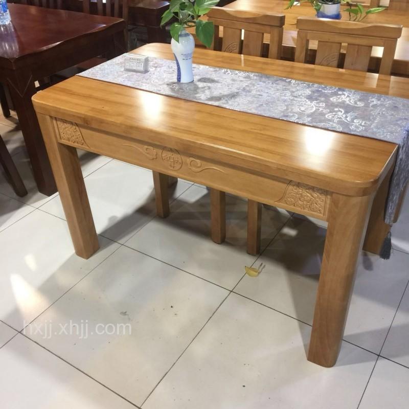 香河家具城 深色实木餐桌椅 橡木餐桌椅一桌四椅