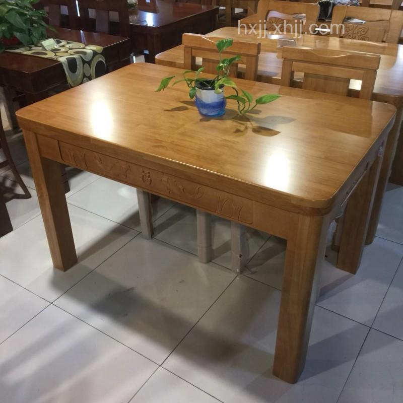 香河家具城 深色实木餐桌椅 橡木餐桌椅 厂家批发