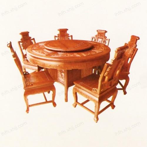 实木雕刻餐桌 04