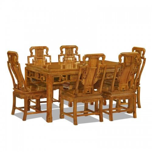 中式花梨木雕花餐厅桌