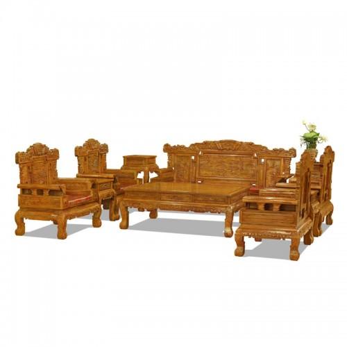 中式花梨木雕花客厅沙
