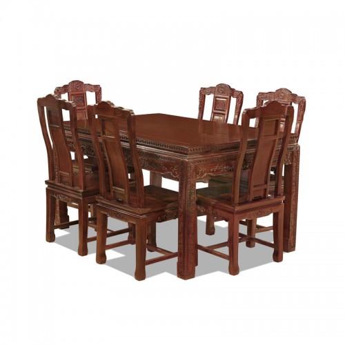 中式非酸枝古典餐桌椅04
