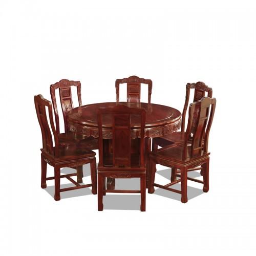 中式非酸枝古典餐桌椅组合02