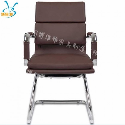 简约办公椅家用电脑椅弓形皮面职员会议椅
