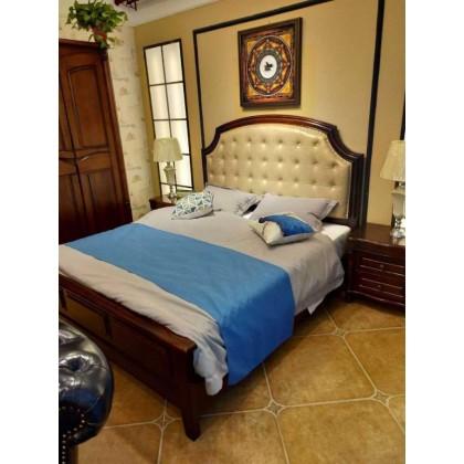 实木拉扣美式经典床