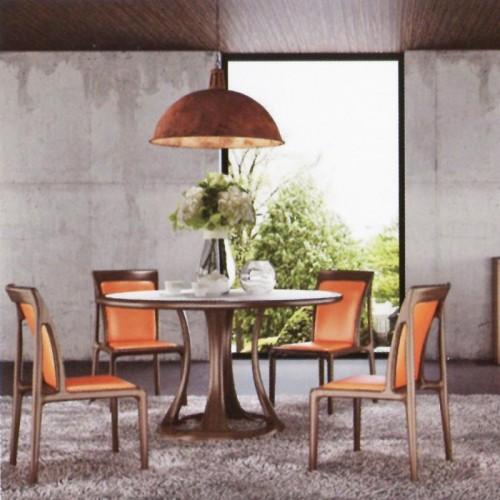 意式风格柚木圆餐桌椅