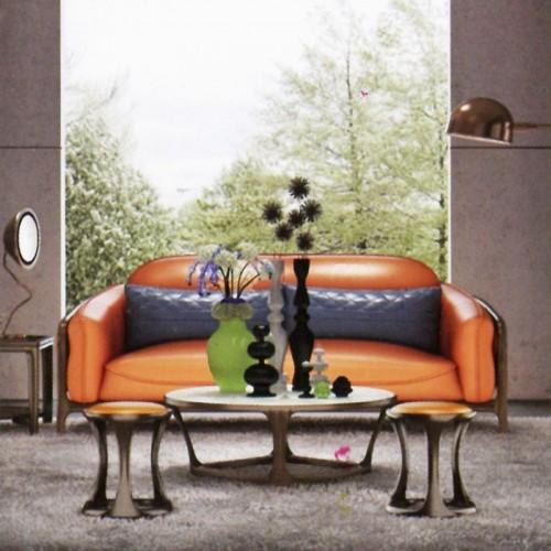 意式风格柚木皮艺沙发