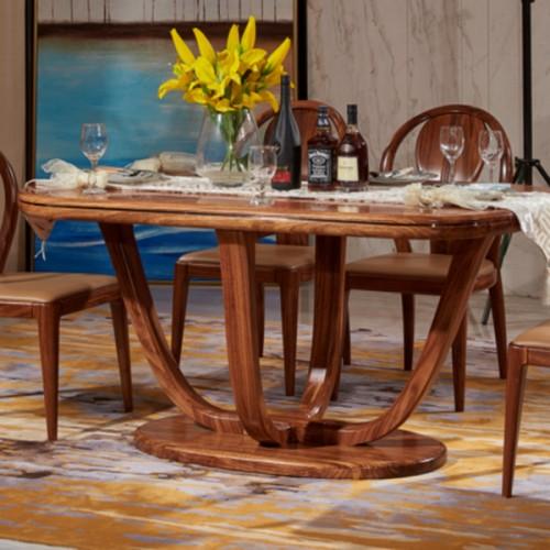 中式乌金木实木餐桌10