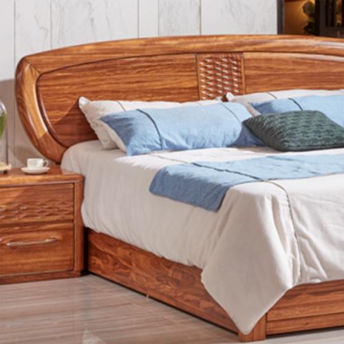 中式乌金木实木卧室床25