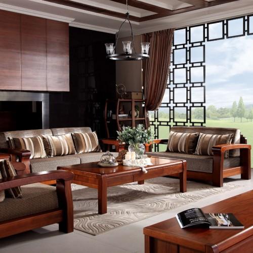 新中式实木沙发组合 现代简约客厅沙发19