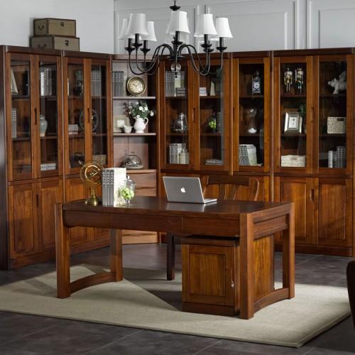 中式实木书柜 豪华落地书柜16